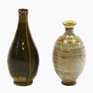 Vases Vintage Miniatures en Grès avec Finition Glacis au Sel de Wallåkra, Set de 2