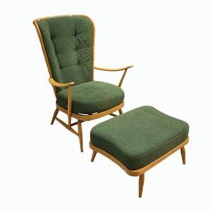 Windsor 478 Armlehnstuhl mit Ottomane von Lucian Ercolani für Ercol, 1950er