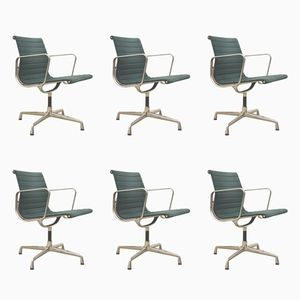 Green EA108 Aluminum Office Chairs by Charles & Ray Eames for Vitra, 1980s, Set of 6