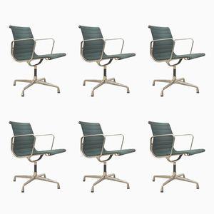 Grüner EA108 Aluminium Bürostuhl von Charles & Ray Eames für Vitra, 1980er, 6er Set