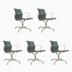 Green EA108 Aluminum Office Chairs by Charles & Ray Eames for Vitra, 1980s, Set of 5