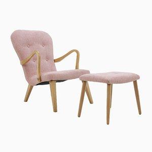 Danish Oak Lounge Chair with Stool, 1960s