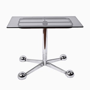 Adjustable Coffee Table in Chrome & Smoked Glass with Wheels from Allegri Arredamenti, 1970s