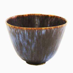 Vintage Small Vintage Stoneware Bowl in Hares Fur Glaze by Gunnar Nylund for Rörstrand