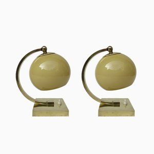 Vintage Art Deco Style Polished Brass Table Lamps, Set of 2