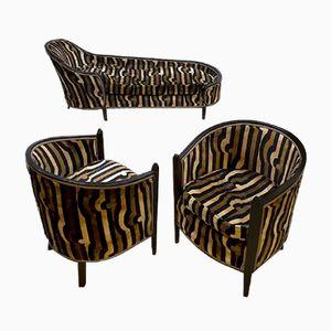 Französische Art Deco Samt Chaiselongue & 2 Klubsessel