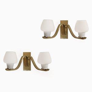 Dänische Vintage Wandlampen aus Messing von Fog & Morup, 1950er, 2er Set