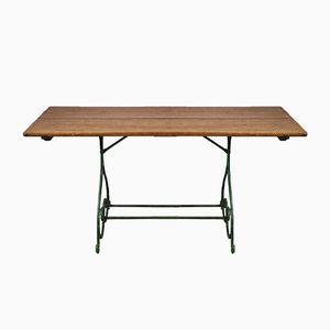 Tavolo da giardino in ferro battutp con pannello in quercia, fine XIX secolo