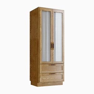 Wardrobe in Natural Oak, Brass, and Leather by Lind + Almond for Jönsson Inventar