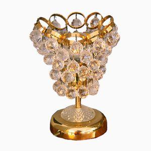Mid-Century Crystal & Brass Table Lamp