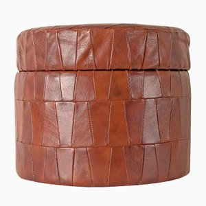 Vintage Leather Patchwork Pouf