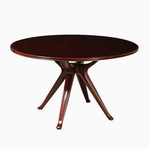 Vintage Italian Mahogany Table by Osvaldo Borsani, 1950s