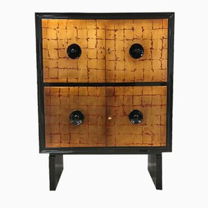 Art Deco Red & Gold Leaf Cabinet, 1940s