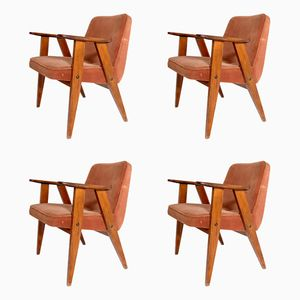 French Beech Armchairs, 1950s, Set of 4