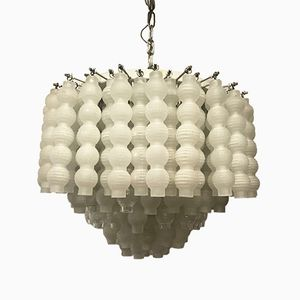 Modernist Chandelier with Satin and Transparent Glass Tubes, 1970s