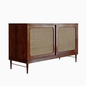 Sideboard in Chestnut-Stained Oak & Rattan by Lind + Almond for Jönsson Inventar