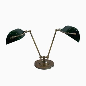 Vintage Brass & Glass Desk Lamp, 1930s