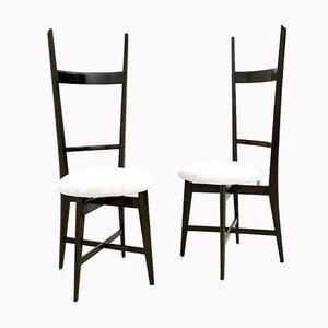 White Velvet and Solid Mahogany Chiavari Chairs, 1950s, Set of 2
