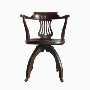 19th-Century Oak Swivel Office Chair