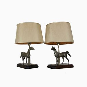 Vintage French Sculptural Horse Table Lamps, 1970s, Set of 2