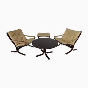 Mid-Century Siesta Tisch, Ottomane & 2 Leder Stühle by Ingmar Relling für Westnofa