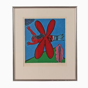 Colored Lithography with Silver Frame by Guillaume Cornelis van Beverloo, 1986
