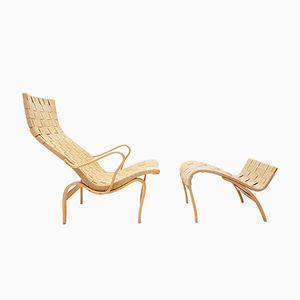 Mid-Century Pernilla Chair & Ottoman by Bruno Mathsson for Karl Mathsson