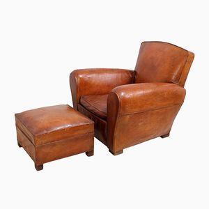 Vintage French Leather Club Chair and Stool