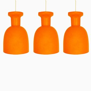 Lampade vintage in vetro arancione di Raak, Paesi Bassi, anni '70, set di 3