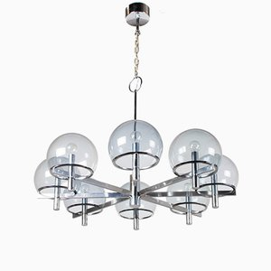 Large Chrome Chandelier by Gaetano Sciolari, 1970s