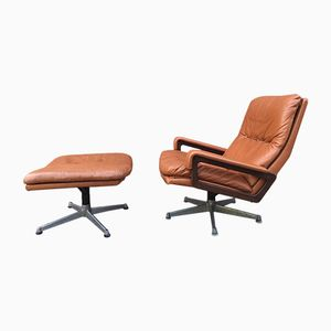 Vintage King Armchair with Cognac Leather Footrest by André Vandenbeuck for Strässle