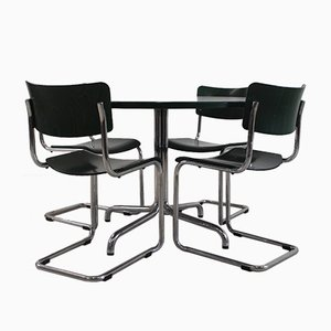 S43 Table & 4 Chairs by Mart Stam for Thonet, 1980s