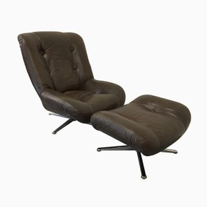 Vintage Dutch Leather Swivel Chair with Ottoman