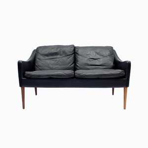 2-Seater Leather & Rosewood Sofa by Hans Olsen for Cs Møbelfabrik, 1960s
