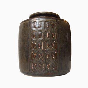 Danish Relief Stoneware Vase by Valdemar Petersen for Bing & Grondahl, 1960s
