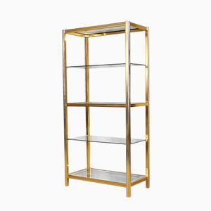 Display Shelf in Chrome & Brass by Renato Zevi, 1970s