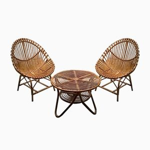 Rattan & Malacca Table and Chair Set from Bonacina, 1950s