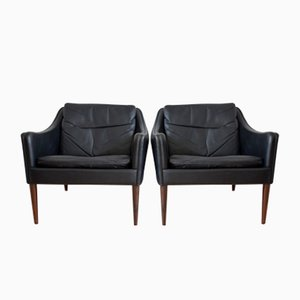 Model 800 Leather Easy Chairs by Hans Olsen for CS Mobelfabrik, 1958, Set of 2