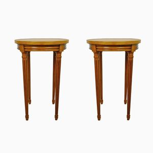 French Cherry Side Tables, 1970s, Set of 2