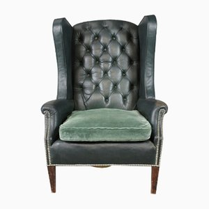 Vintage Green Leather Button Back Armchair