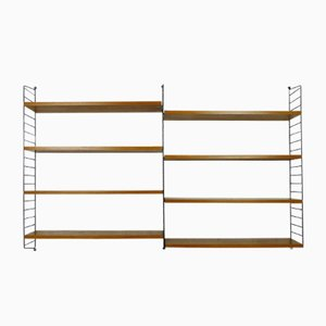 Swedish Wall Unit with 8 Teak Shelves by Nisse Strinning for String, 1950s