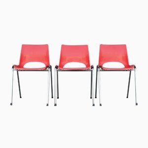 Stapelbare französische Vintage Kinderstühle aus rotem Kusntstoff und Chrom, 3er Set
