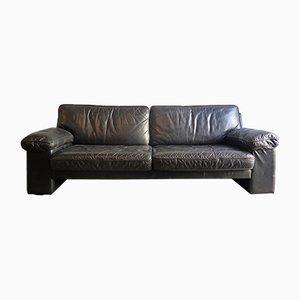Vintage Black Leather 3-Seater Sofa
