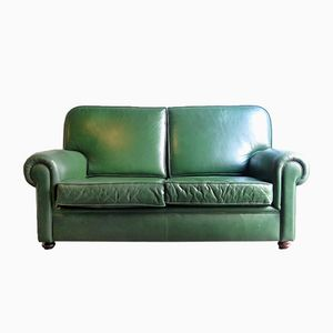 Mid-Century 2-Seater Green Sofa