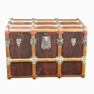 Antique Curved Faux Snakeskin Trunk