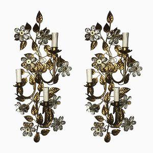 Crystal Flower Gold Gilded Florentine Sconces, Set of 2