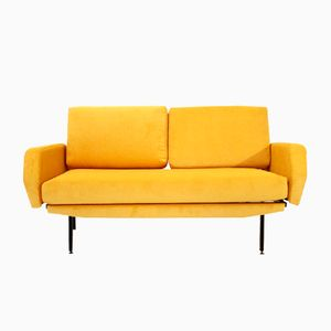 Italian Yellow Velvet Sofa Bed, 1950s