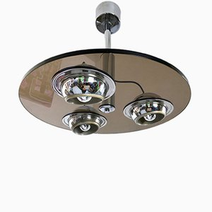 Round Thick Smoked Glass Ceiling Light, 1970s