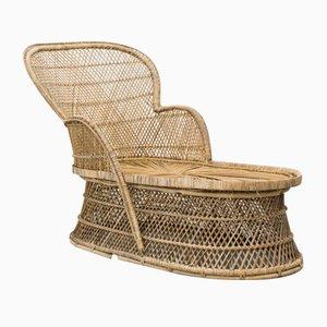 Chaise longue vintage de mimbre trenzado, años 70