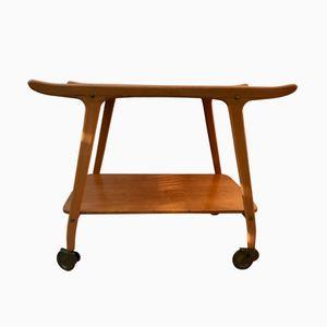 Vintage Danish Wooden Trolley Bar Cart